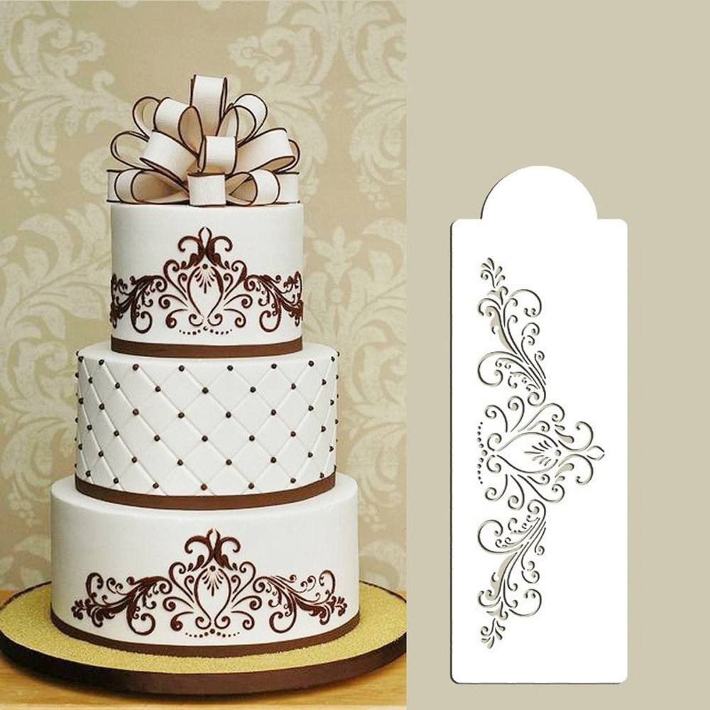 4PCS Wedding Kitchen Cookie Baking Tool Fondant Cake Border Stencil Damask Lace Flower Mould-1
