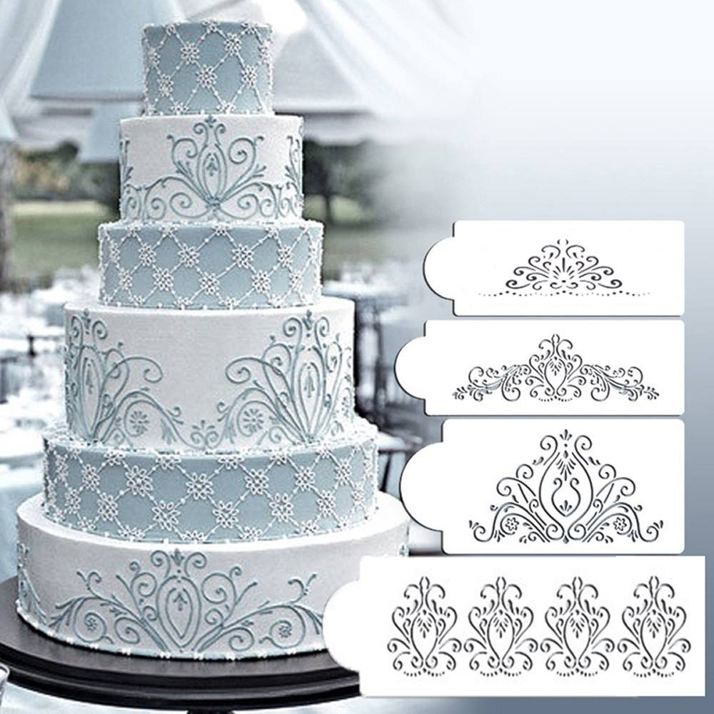 4PCS Wedding Kitchen Cookie Baking Tool Fondant Cake Border Stencil Damask Lace Flower Mould-2