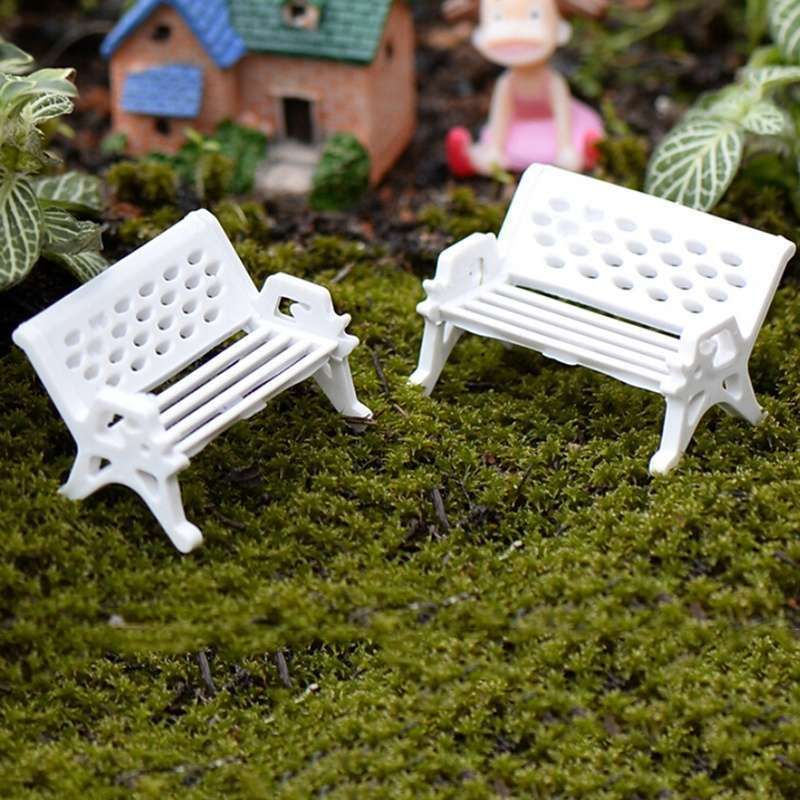 1pcs Garden Ornament Miniature Park Seat Bench Craft Fairy Dollhouse Decor Fashion Online