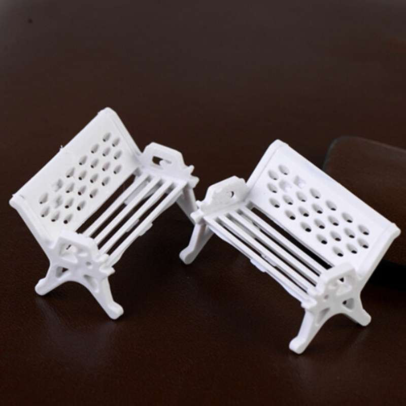 1pcs Garden Ornament Miniature Park Seat Bench Craft Fairy Dollhouse Decor Fashion Online-1