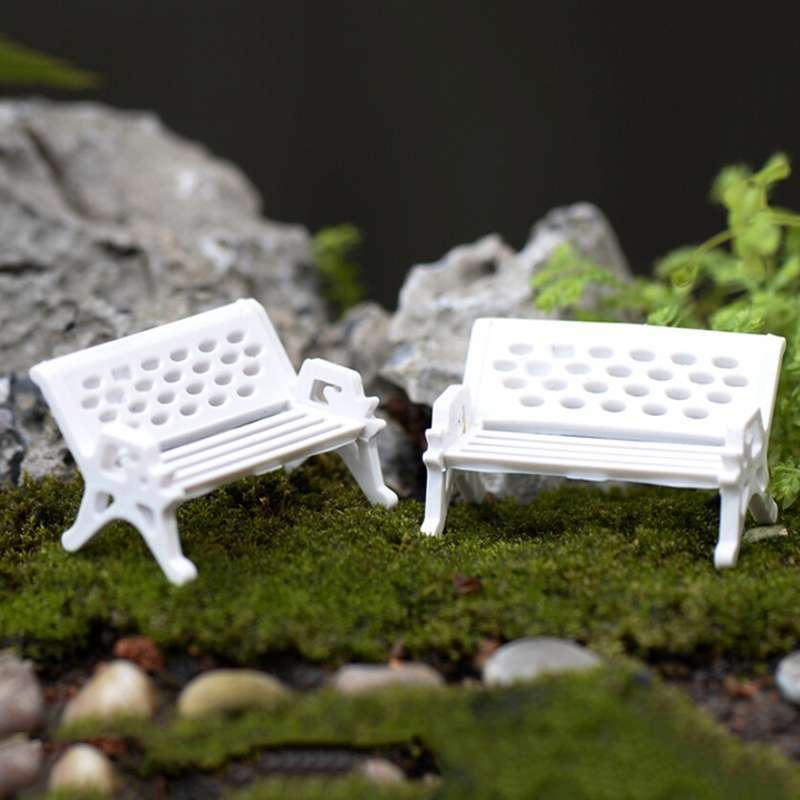 1pcs Garden Ornament Miniature Park Seat Bench Craft Fairy Dollhouse Decor Fashion Online-3