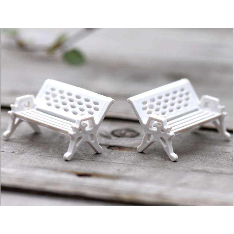 1pcs Garden Ornament Miniature Park Seat Bench Craft Fairy Dollhouse Decor Fashion Online-4