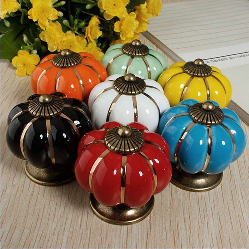 Vintage Ceramic Door Knobs Cabinet Drawer Cupboard Kitchen Pull Handles Decoration Home-1