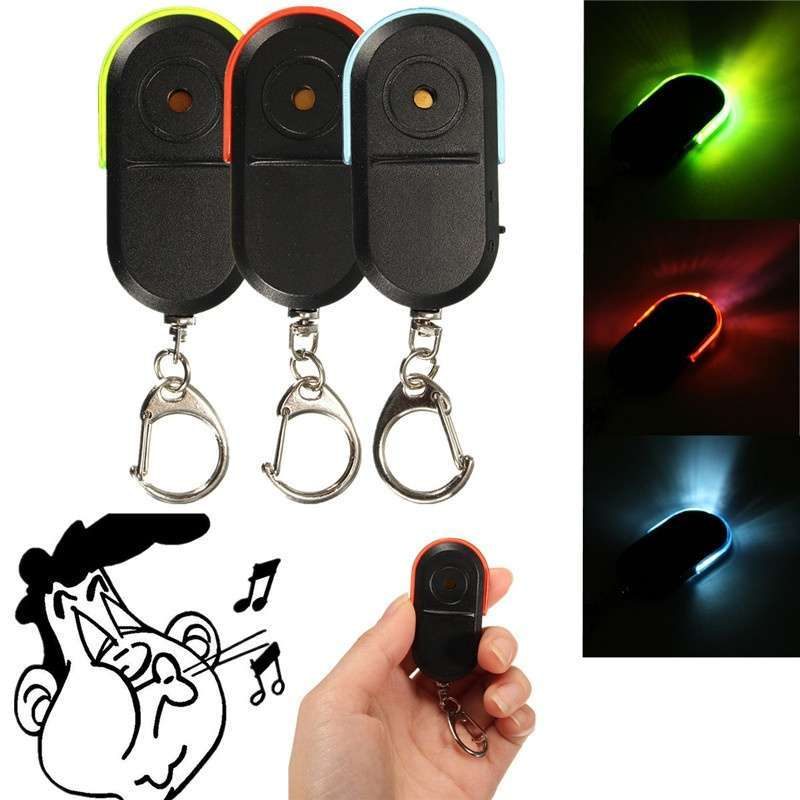 Wireless Anti-Lost Alarm Key Finder Locator Key chain Whistle Sound LED Light