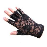 F1hV-Women Lady Exquisite Goth Party Sexy Dressy Lace Gloves Mittens Finger Less