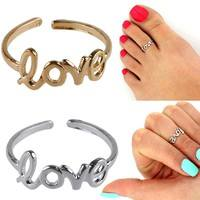 F3gY-Women Fashion Toe Ring Celebrity Simple Love Open Adjustable Foot Beach