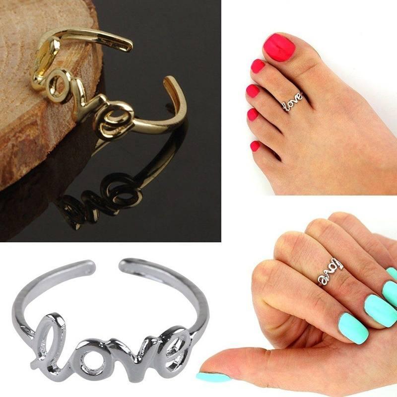 Women Fashion Toe Ring Celebrity Simple Love Open Adjustable Foot Beach SL