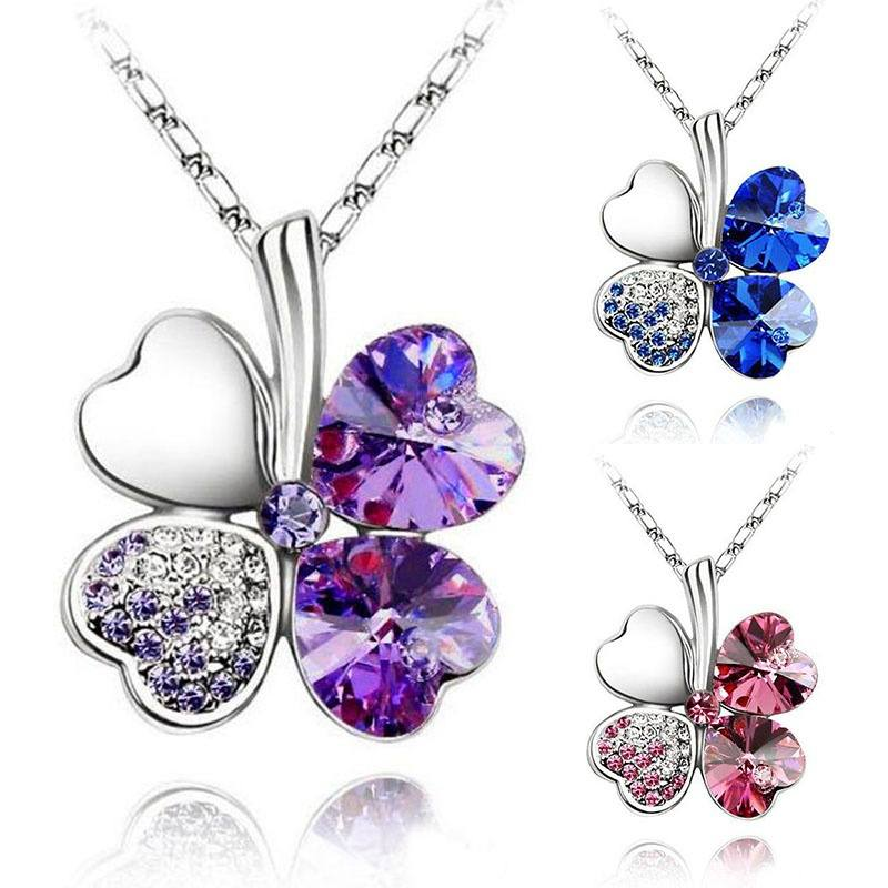 Happiness Four Leaf Clover Lucky Crystal Charm Pendant Necklace Valentine Lovers