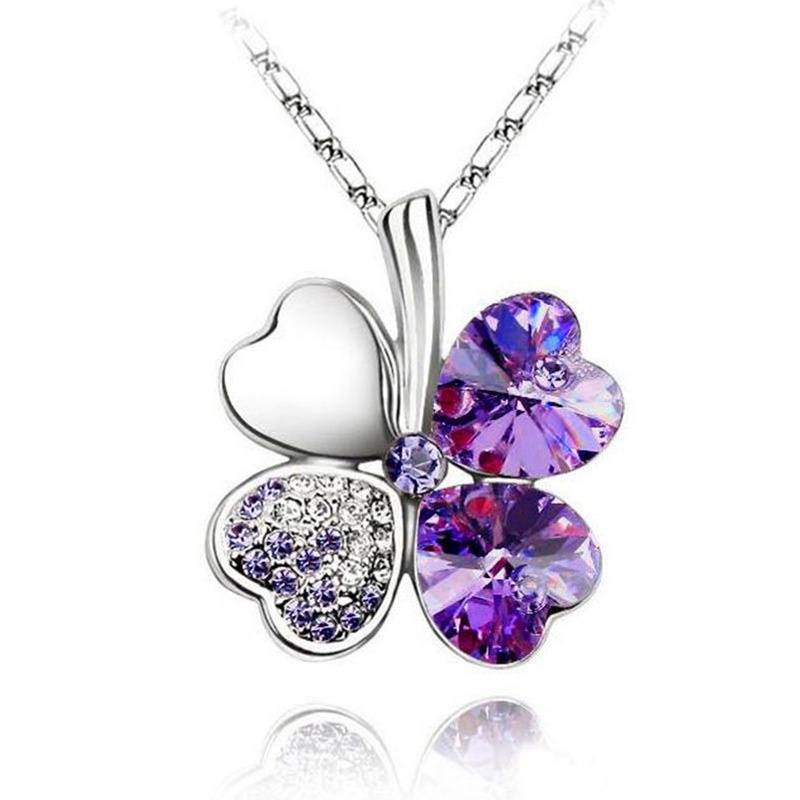 Happiness Four Leaf Clover Lucky Crystal Charm Pendant Necklace Valentine Lovers-1