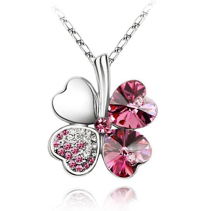 Happiness Four Leaf Clover Lucky Crystal Charm Pendant Necklace Valentine Lovers-2
