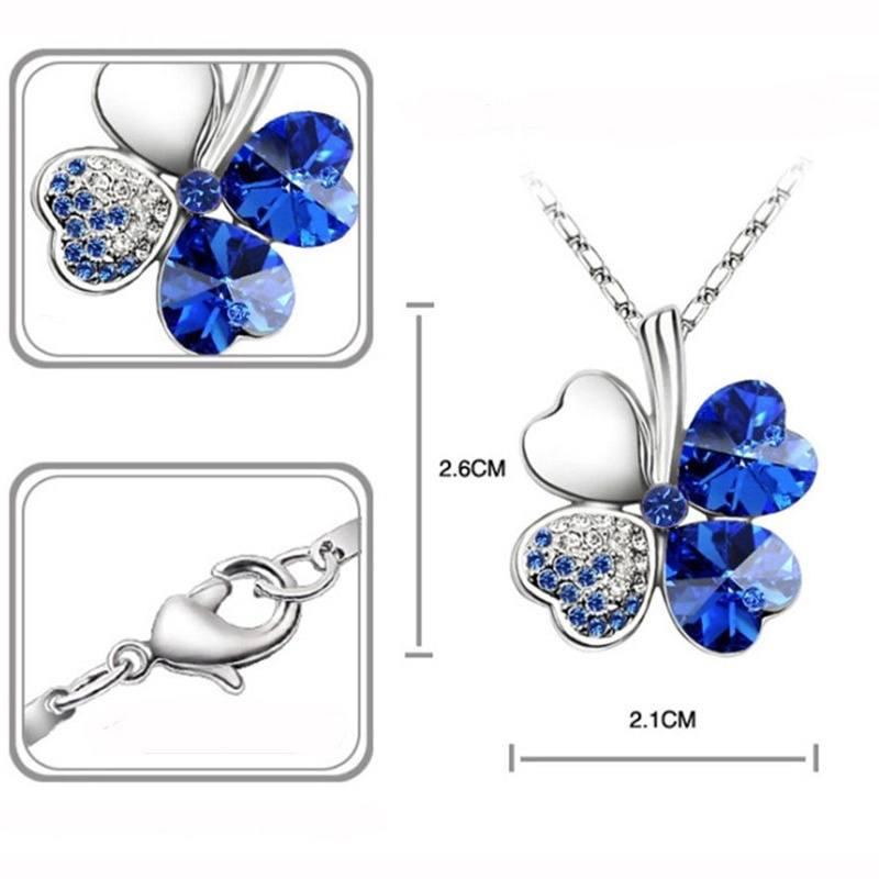 Happiness Four Leaf Clover Lucky Crystal Charm Pendant Necklace Valentine Lovers-3