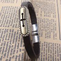 F7G2-Fashion Vintage Cross Wire Drawing Leather Bracelet For Men Women