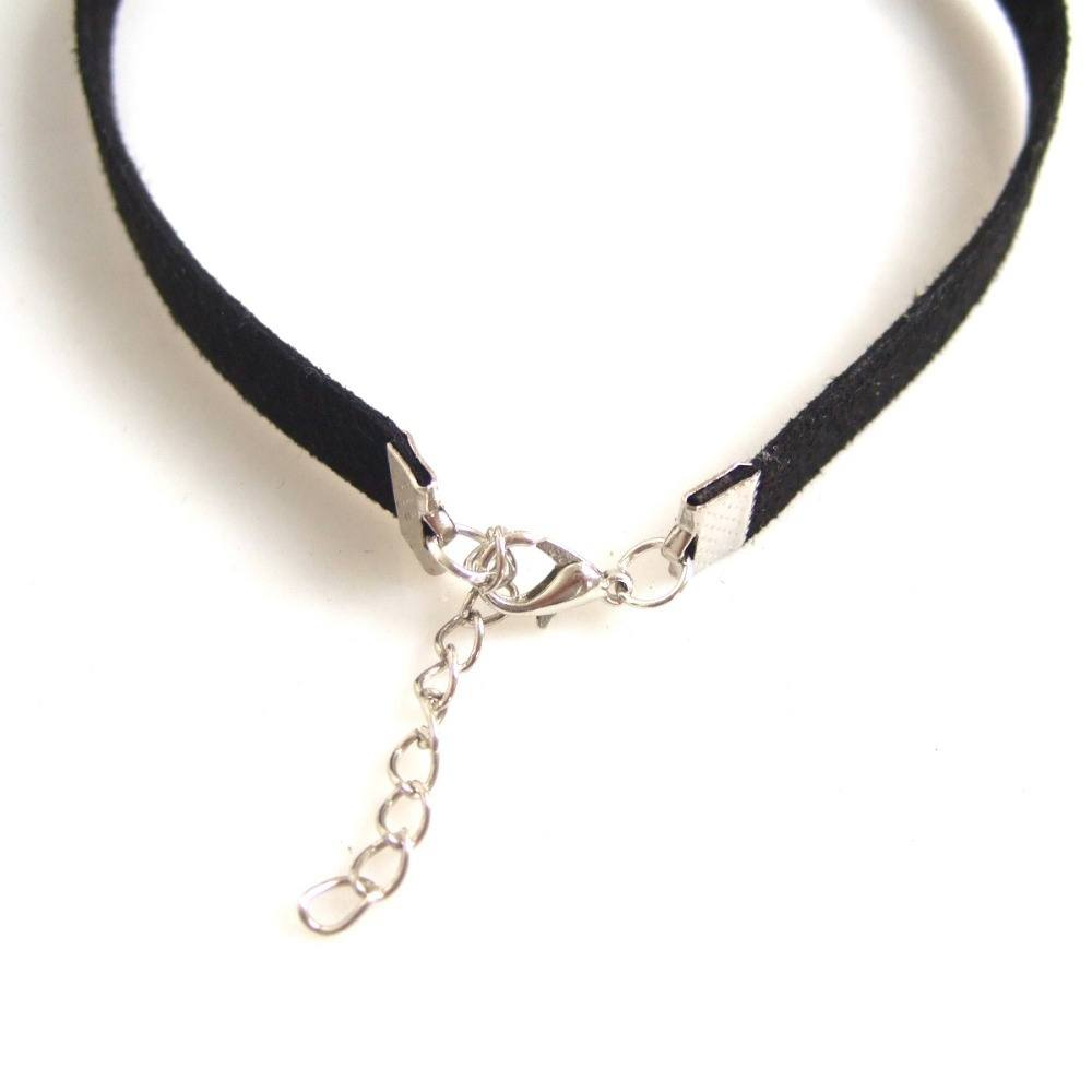 Egypt Ankh Cross Charm Pendant Choker Necklace with 10mm Black Flat Faux Suede Leather adjustable-1