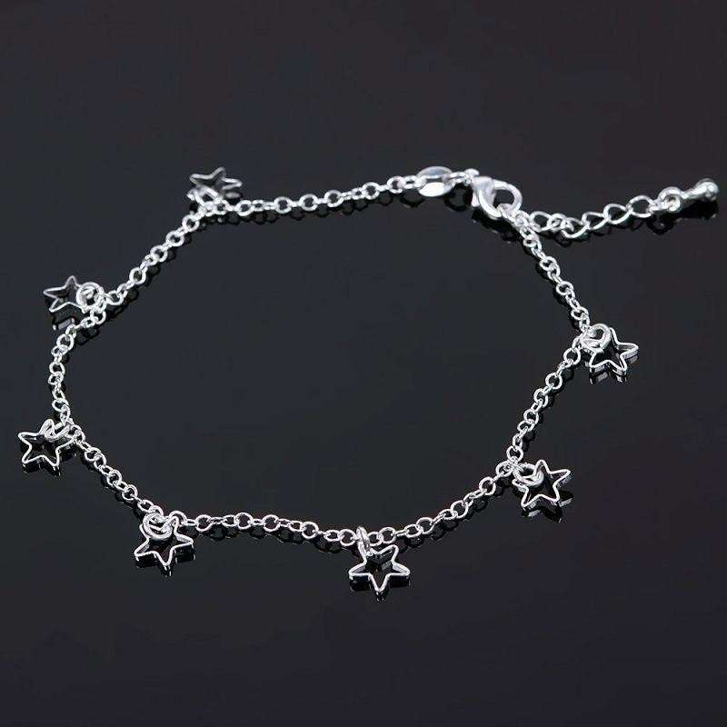 Seven Stars Silver Plated Thin Chain Anklet Bracelet Foot Jewelry Barefoot-2