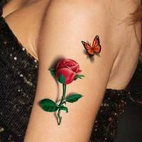 FCt9-3D Tattoo Sticker Waterproof Female Sexy Nightclub Rose Butterfly Tattoo Stickers