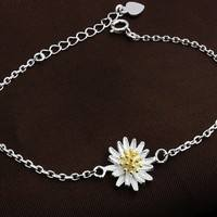 FD2a-Silver Fresh Little Daisy Sun Flower Lady Girl Gold Bracelet Anklet
