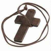 FFJ1-Leather Rope Wood Cross Necklace