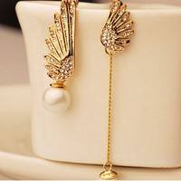 FG7H-Elegant Asymmetric Angel Wings Pearl Crystal Lady Wedding Dangle Earrings