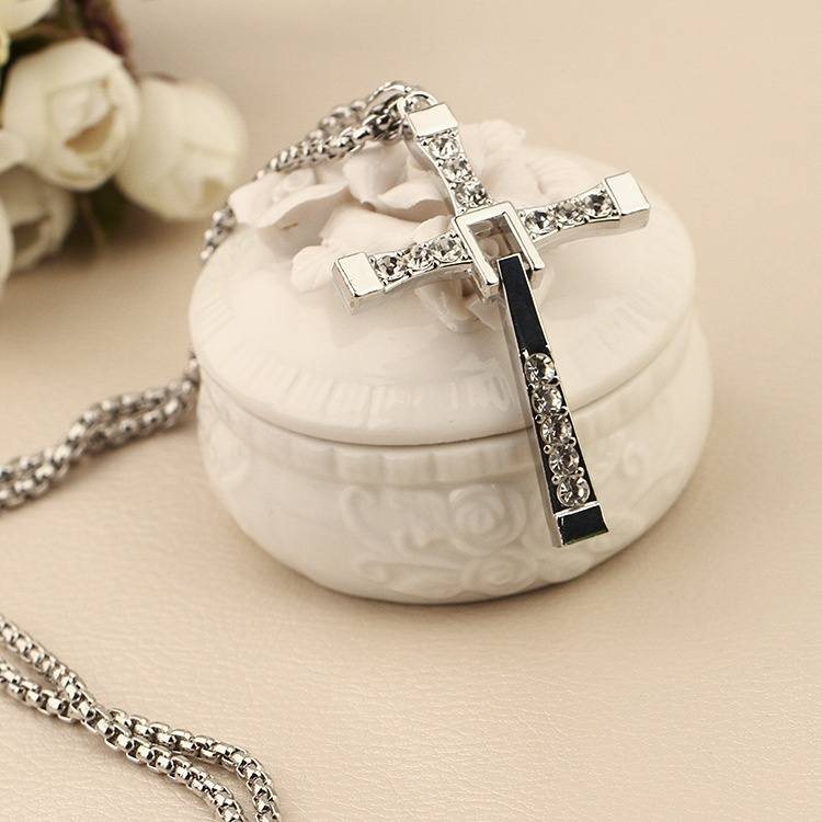 Fashion Diamond Cross Necklace Long Sweater Chain