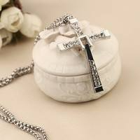 FGM6-Fashion Diamond Cross Necklace Long Sweater Chain