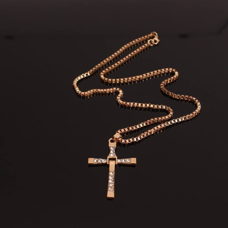 Fashion Diamond Cross Necklace Long Sweater Chain-2