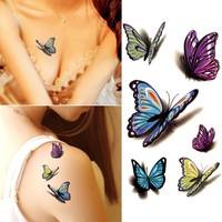 FHBD-Lovely Decal Waterproof Temporary Tattoo Sticker Colorful Butterfly Fake Tattoos Cheap But Quality Goods