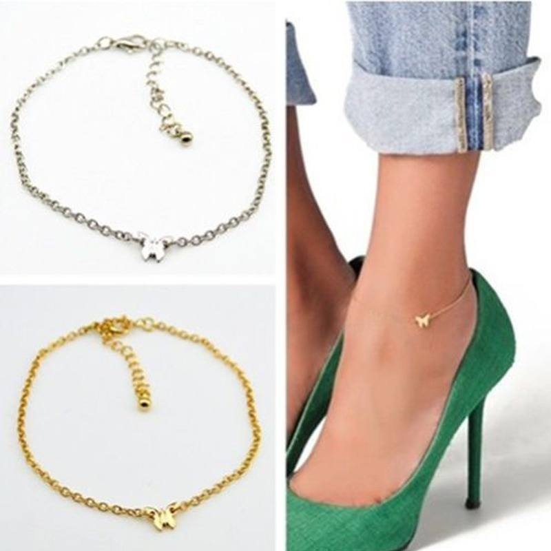 1pc Adjustable Gold/Silver Butterfly Pendant Chain Anklet Ankle Bracelet