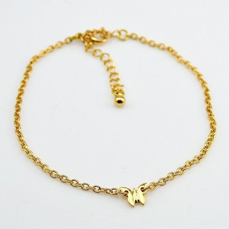 1pc Adjustable Gold/Silver Butterfly Pendant Chain Anklet Ankle Bracelet-1