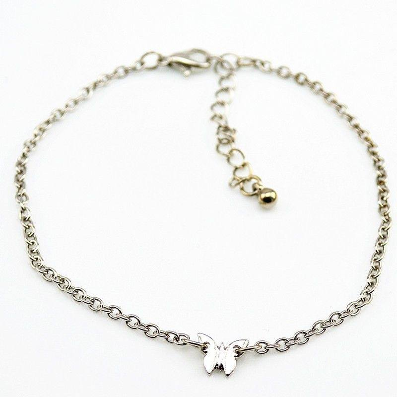 1pc Adjustable Gold/Silver Butterfly Pendant Chain Anklet Ankle Bracelet-2