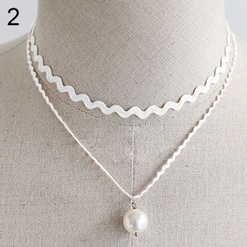 New Stylish Double Layer Lace Pearl Pendant Choker Necklace-1