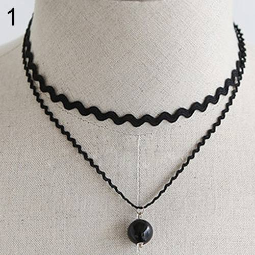 New Stylish Double Layer Lace Pearl Pendant Choker Necklace-2