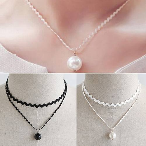 New Stylish Double Layer Lace Pearl Pendant Choker Necklace-4