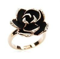 FO3P-Fashion Diamond Black Roses Opening Ring