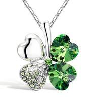 FOSb-New Elegant Key Diamond Sweater Necklace Green Crystal Leaf Lucky Rhinestone Four Leaf Clover Pendant Necklace Clover Jewelry