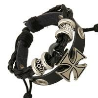 FQ6J-Fashion Men's Bracelet Cross Leather Beaded Sexy Punk Metal Crossover Men's Leather Bracelet (