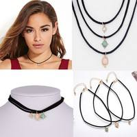 FQGS-3Pcs/set Vintage Natural Turquoise Velvet Choker Necklace Elegant Black Multi Layer European Style Necklaces Women