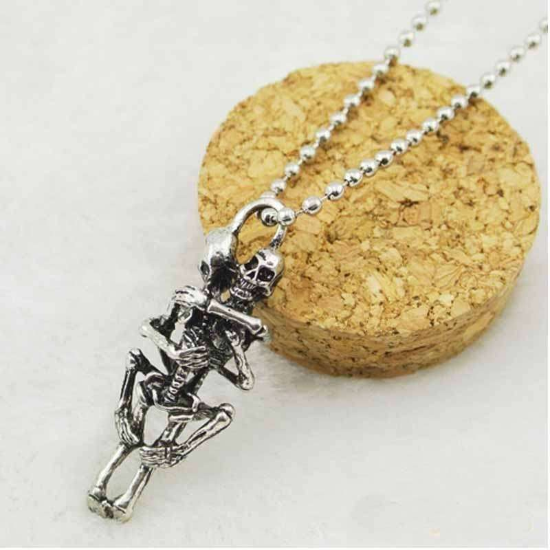 Men's Women's Fashion unisex Infinity Love Silver Plated Couple Skulls Hug Chain Pendant Necklace-2