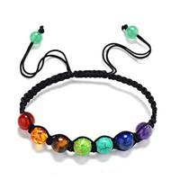 FR8u-Multi-color Chakra Beads Bracelets Adjustable Braided Rope Healing Turquoise Bracelet For Men Women Reiki Prayer Stones Bracelet