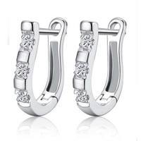 FU7X-Luxury Silver Plated Earring Nice White Gold Silver Crystal Hoop Earrings For Women Jewelry