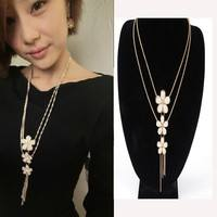 FVov-Women Lady Crystal Flower Long Chain Pendant Statement Necklace