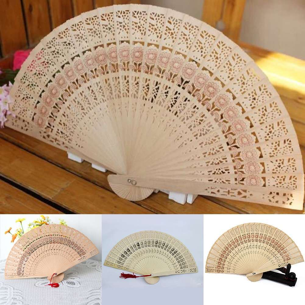 Bamboo Hollow Folding Hand Held Fan Wooden Carved Wedding Party Pocket Fan