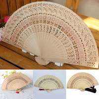 FWv4-Bamboo Hollow Folding Hand Held Fan Wooden Carved Wedding Party Pocket Fan