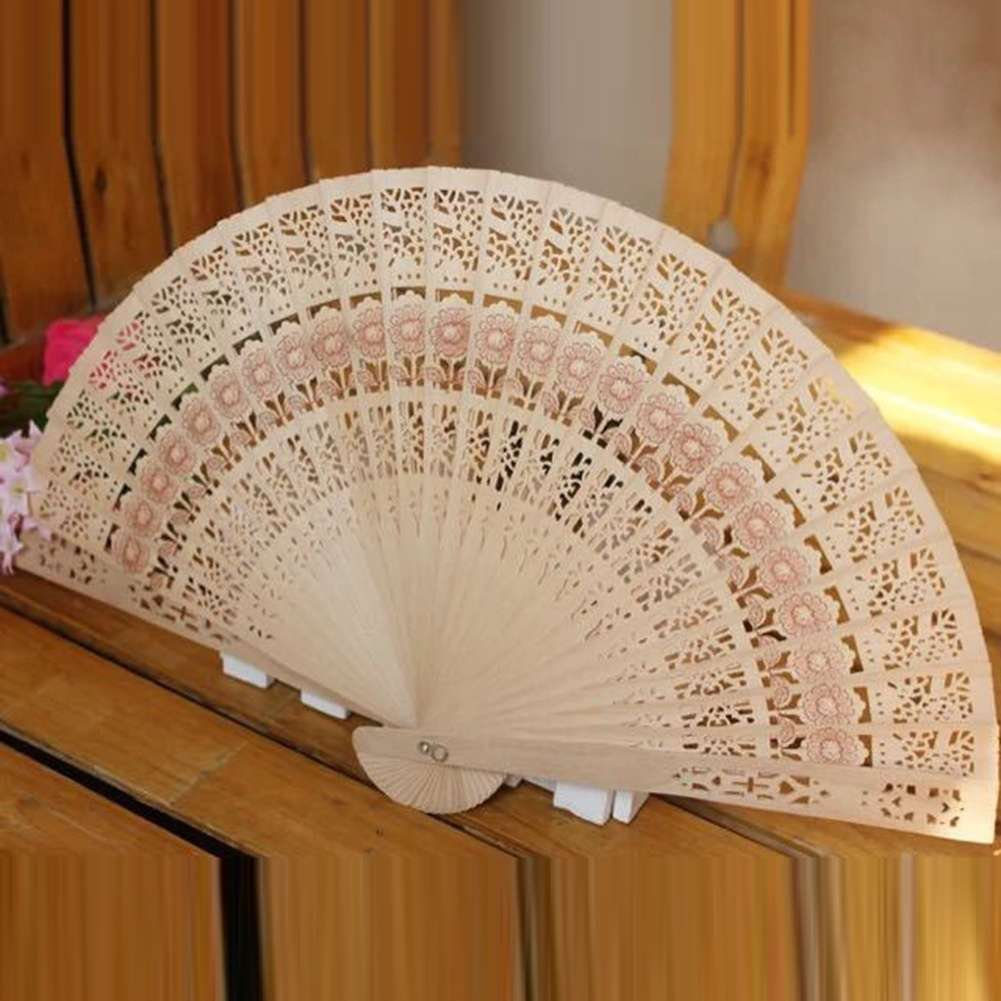 Bamboo Hollow Folding Hand Held Fan Wooden Carved Wedding Party Pocket Fan-2