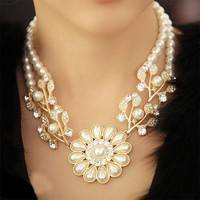 FX0f-Fashion Elegant Pearl Crystal Pearl Flower Bib Choker Necklace