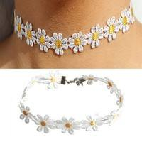 Fblm-Women Charm Daisy Choker Chain Necklace Lace White Yellow Flowers  Necklace