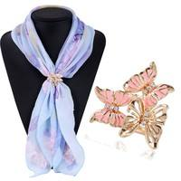 FcUH-Elegant 3 Colors Gold Tone Cutout Butterfly Three Loop Scarves Clip Scarf Buckle Brooch