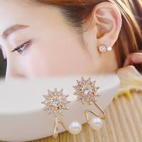 Fcll-Sweet Snowflake Snow Flower Ear Stud Earrings Faux Pearl Ear Cuff Wrap