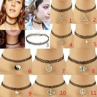 Fe3z-Fashion Vintage Stretch Tattoo Choker Necklace Pendant Retro Henna Punk Elastic 80s 90s
