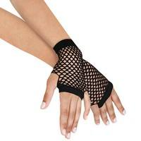 FeKQ-Women Lady Sexy Disco Dance Costume Party Lace Fishnet Finger Less Mesh Gloves