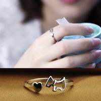 Fed1-925 Sterling Fashion Silver Lady Ring Finger Opening Adjustable Dog